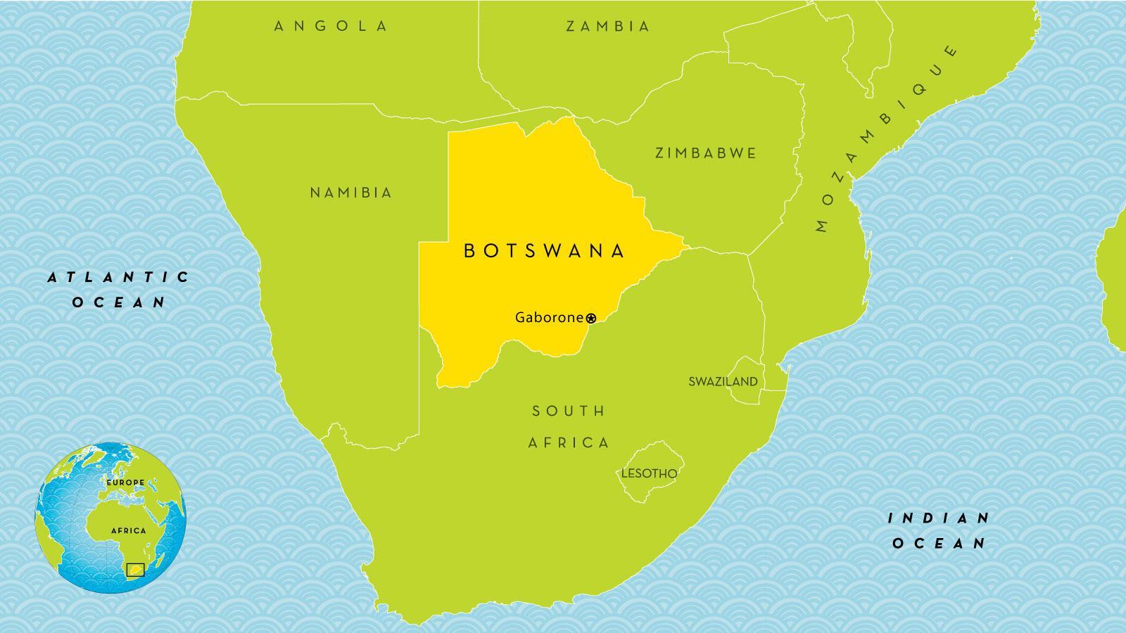 Botswana Land Kort Kort Over Botswana Land Det Sydlige Afrika