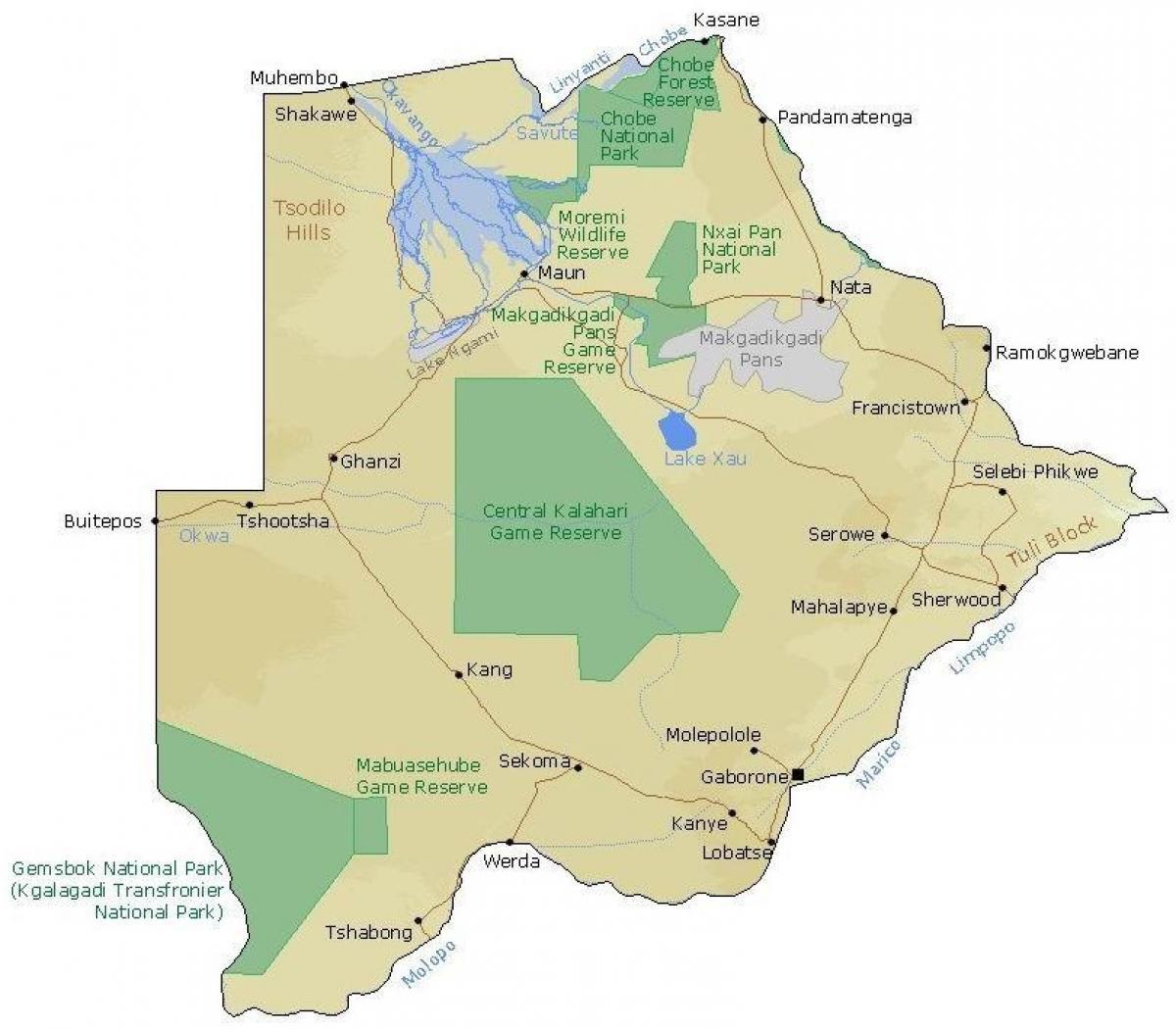 Botswana Graense Stillinger I Kort Kort Over Botswana Graense