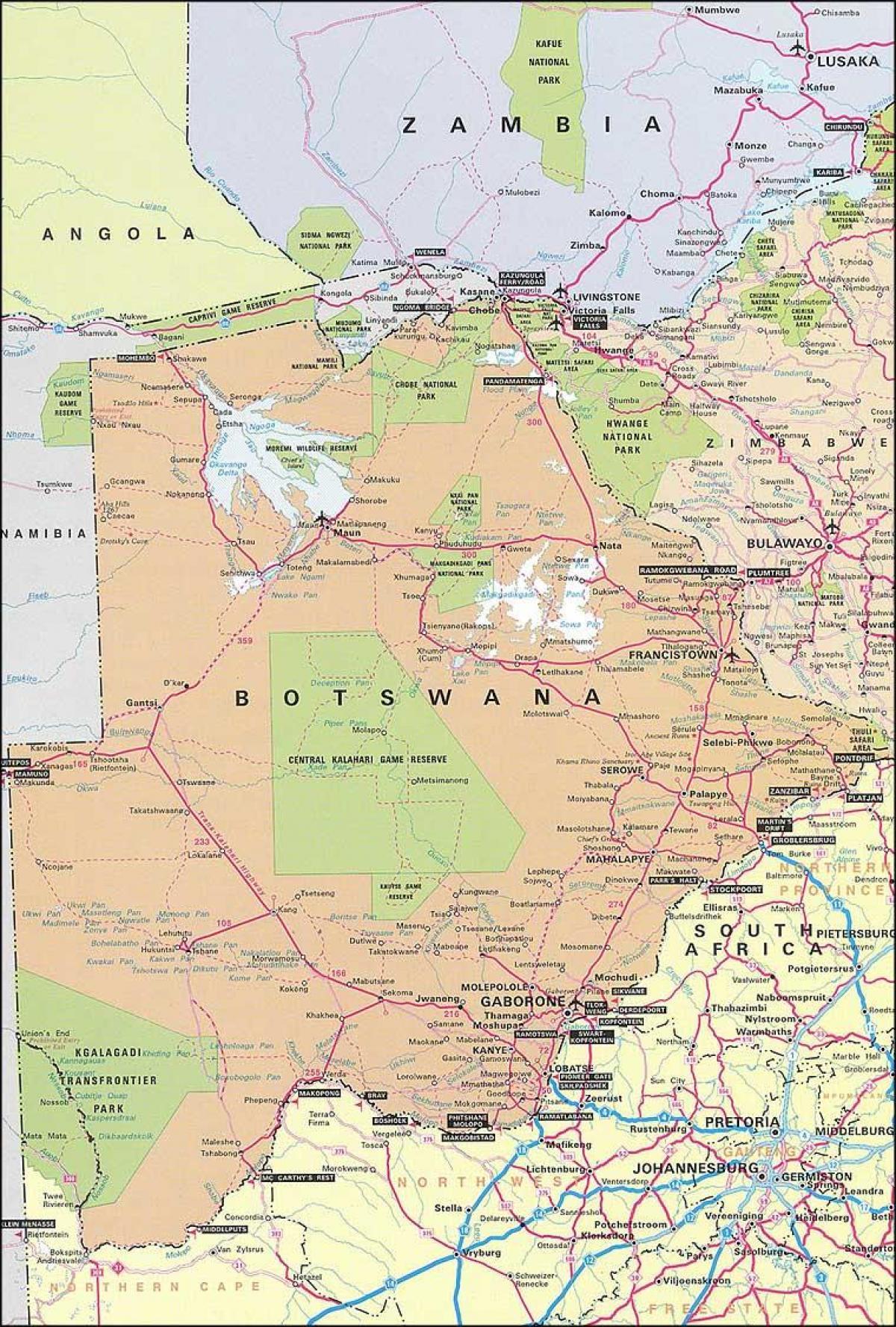 Kort Over Botswana Og De Omkringliggende Lande Kort Botswana Og